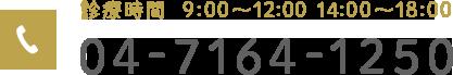 診療時間 9:00~12:00 14:00~18:00 04-7164-1250